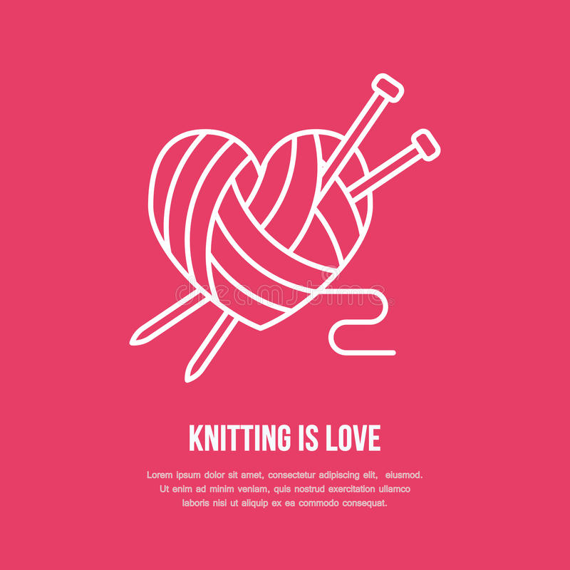 Knitting shop line logo. Yarn store flat sign, illustration of wool skeins with knitting needles.  vector illustration