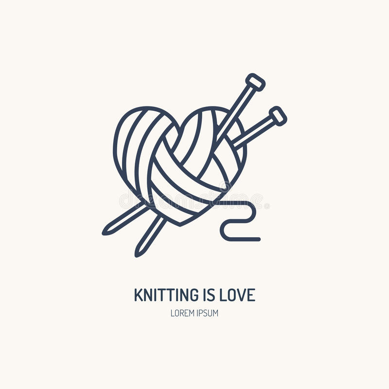Knitting shop line logo. Yarn store flat sign, illustration of wool skeins with knitting needles.  royalty free illustration