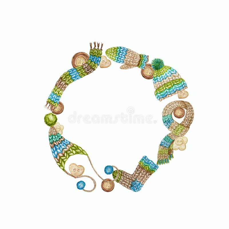 Knitting Shop Logotype Frame, Branding, Avatar composição de fios, roupas de lã, cachecol, mitten, chapéu com pompa fotografia de stock royalty free