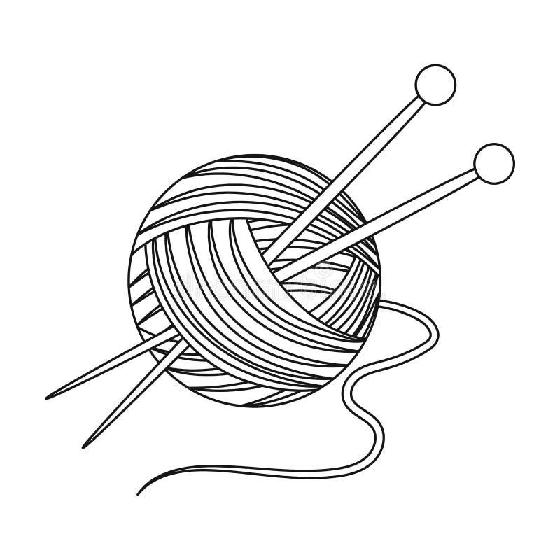 knitting Singola icona di vecchiaia nel web dell'illustrazione delle azione di simbolo di vettore di stile del profilo royalty illustrazione gratis