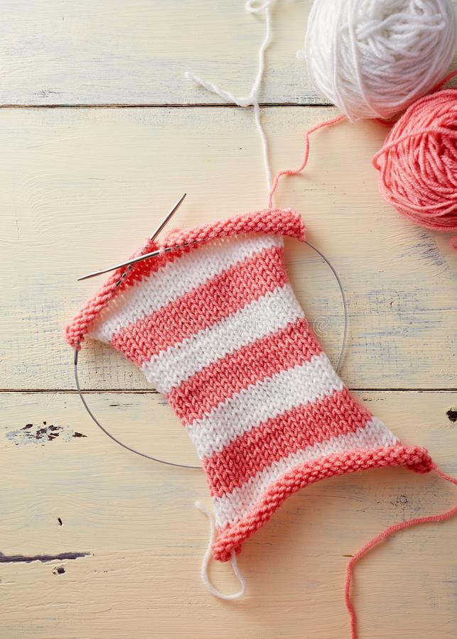 Knitting stripes with two colors of yarn royalty free stock photos