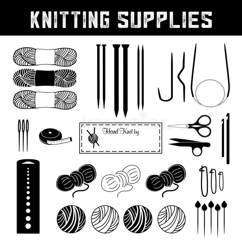 Knitting Supplies for handmade flat, circular and cable knits. Knitting tools and supplies for handmade flat, circular and cable knits: double-pointed needles stock illustration