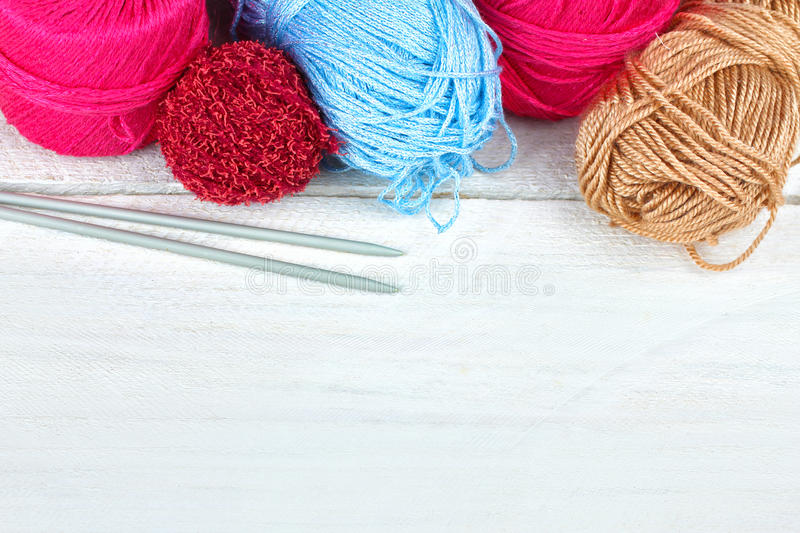 Download Knitting stock photo. Image of blue, background, filament - 64208398