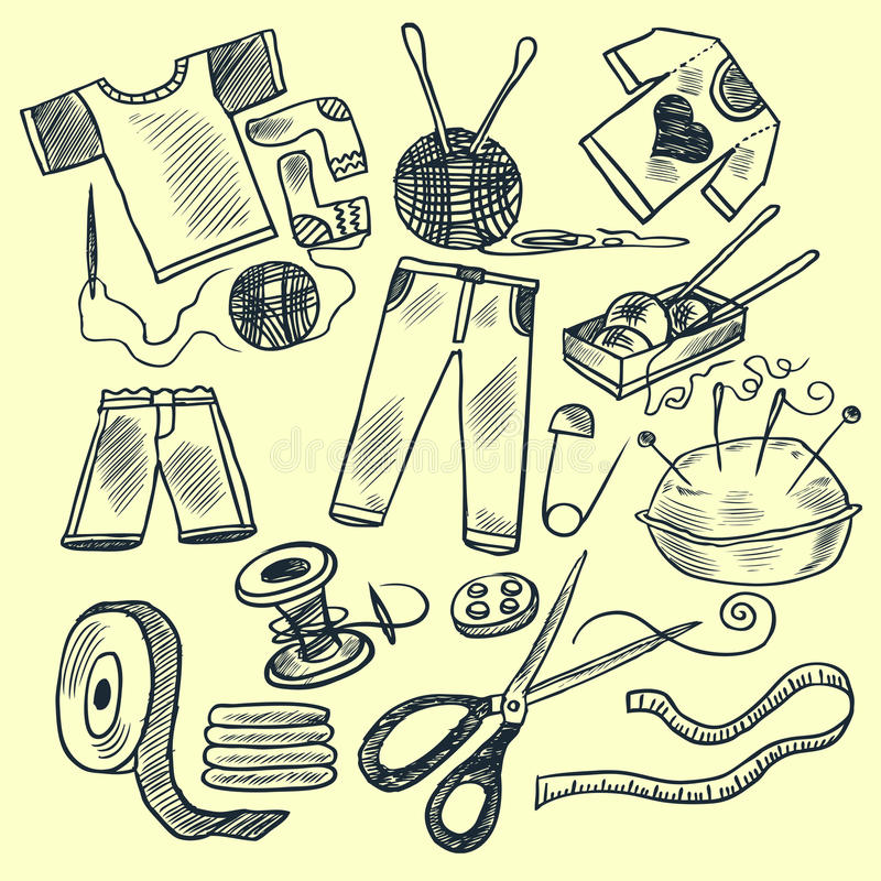 Download Knitting tools stock vector. Image of isolated, elements - 12297393