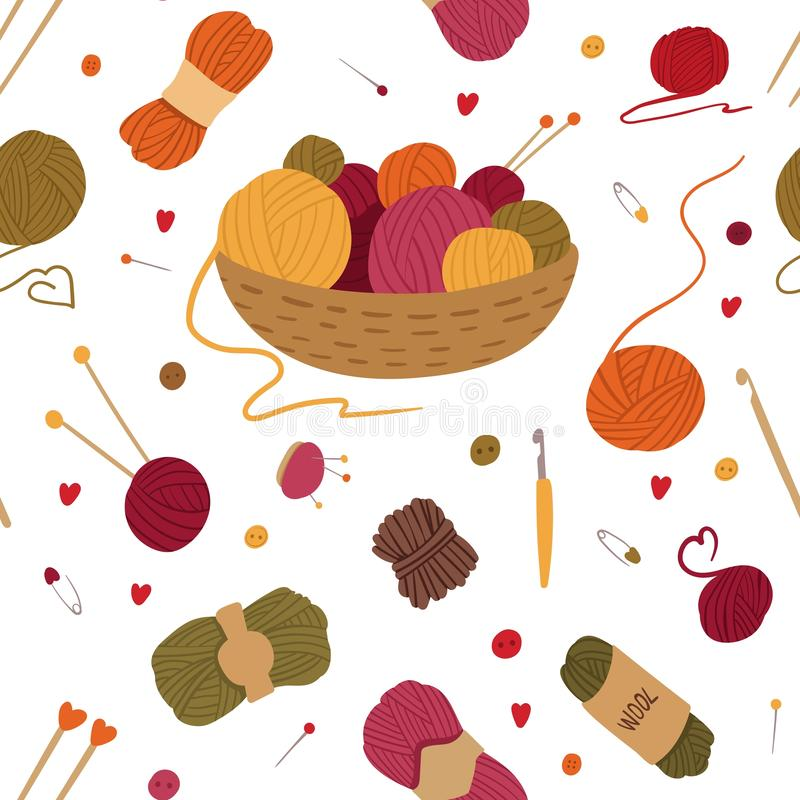 Knitting tools, accessories flat vector seamless pattern. Basket with yarn balls, skeins hand drawn illustration. Handcraft needles, crochets, pincushions royalty free illustration