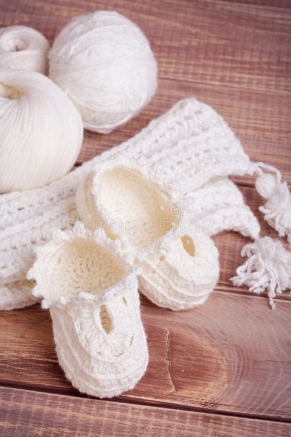 Knitting of white thread and balls stock photography