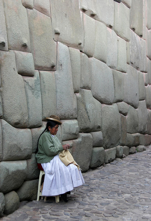 Knitting woman in Cuzco, Peru stock image