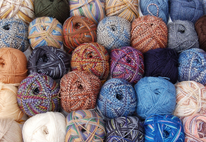 Knitting wool balls stock photos