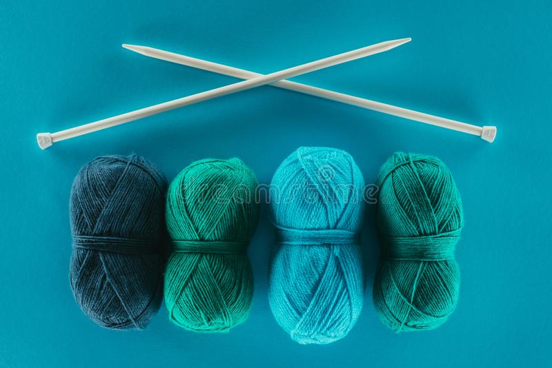 Knitting yarn with knitting needles stock photography
