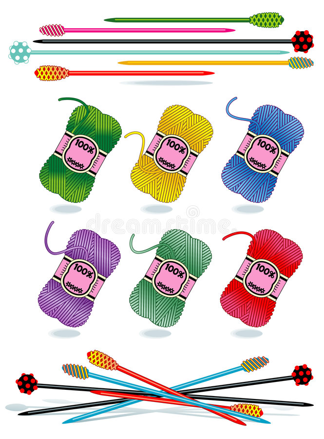 Knitting - yarn skeins, glass needles. Knitting craft or hobby vector design elements - skeins of multi colored yarn, modern glass needles stock illustration