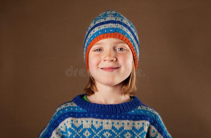 knitwear för förkläde för barnmodehatt royaltyfri bild
