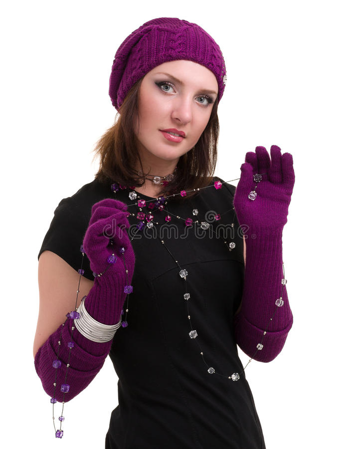 knitwear för vinterkvinna för lock slitage barn fotografering för bildbyråer