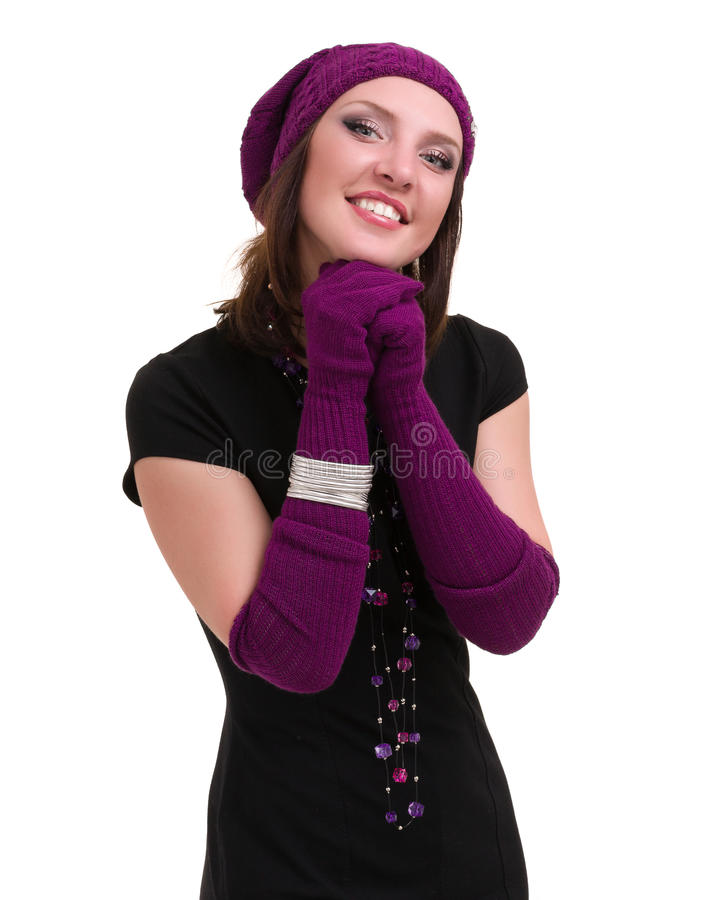knitwear Mujer joven que desgasta un casquillo del invierno imágenes de archivo libres de regalías