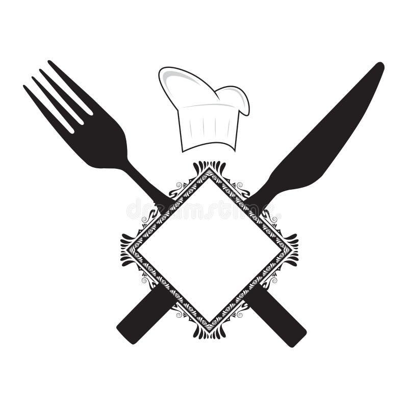 kniv för kockgaffelhatt royaltyfri illustrationer