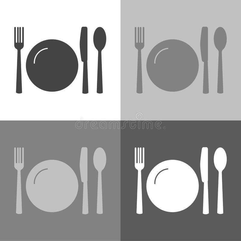 Kniv, gaffel, sked och platta för vektorsymbolsuppsättning bestick banta vatten för bandet för tabellen för det glass måttet för  stock illustrationer