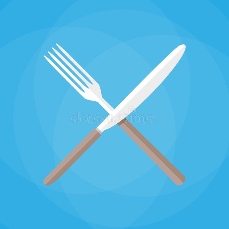 Kniv och gaffel korsad symbolsvektor vektor illustrationer