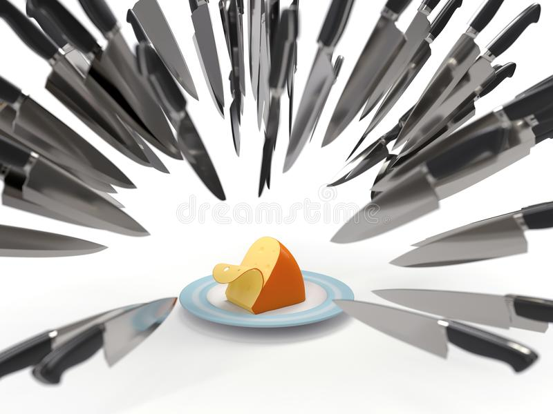 Knives attack a cheese. Competitive fight, knives attack a cheese vector illustration