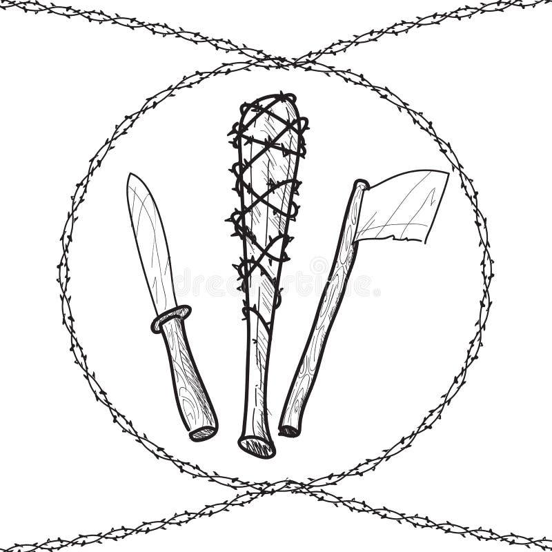 Knives axes baseball wire barb bats. Sketch illustration stock illustration