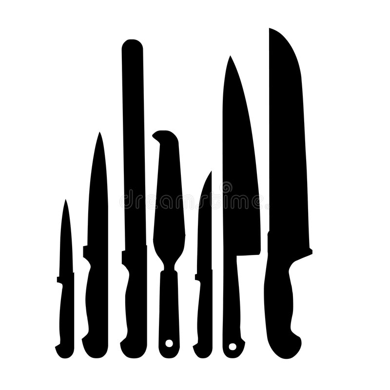 Knives Set. Vectorial illustration for 7 knives, silhouettes vector illustration
