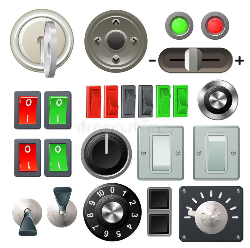 Knob switch and dial design elements vector illustration