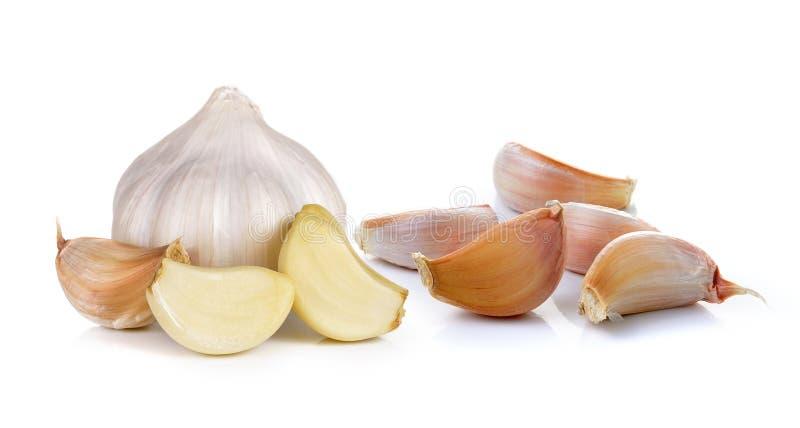 Knoblauch auf weißem Hintergrund stockfoto