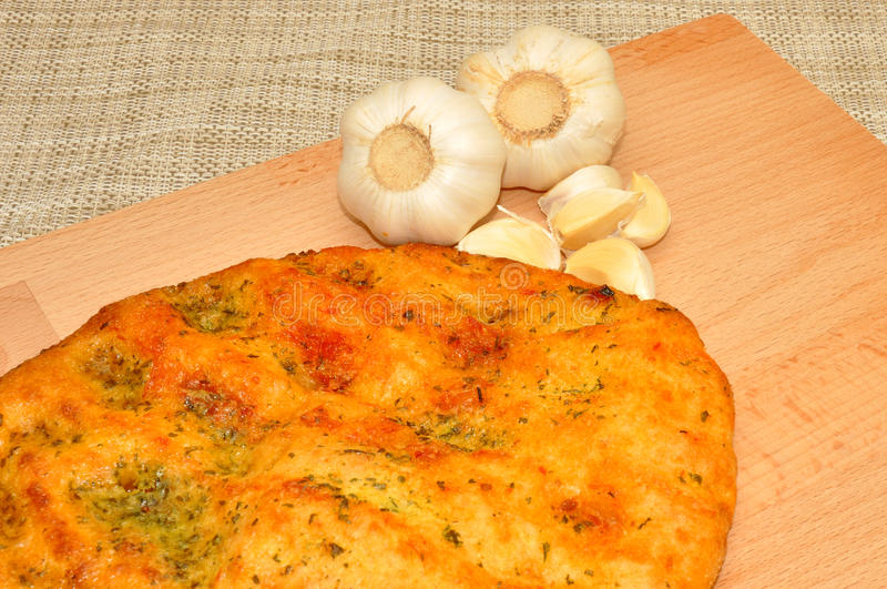 Knoblauch Flatbread stockfotos