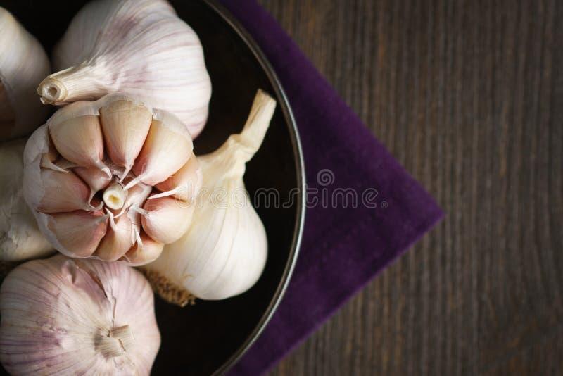 Knoblauch und Knoblauchzehen auf Dunkelheit lizenzfreies stockfoto