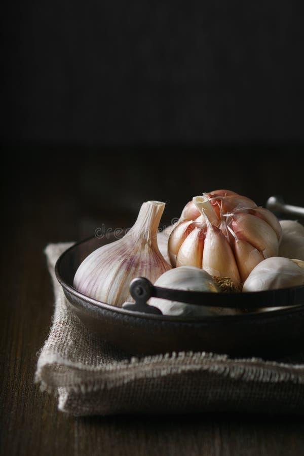 Knoblauch und Knoblauchzehen auf Dunkelheit lizenzfreie stockfotografie