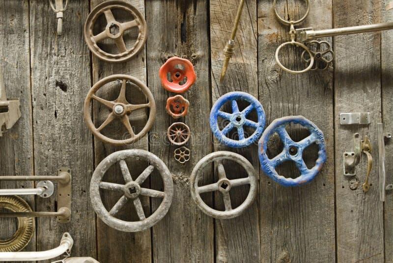 Knobs and handles on barn door stock photos