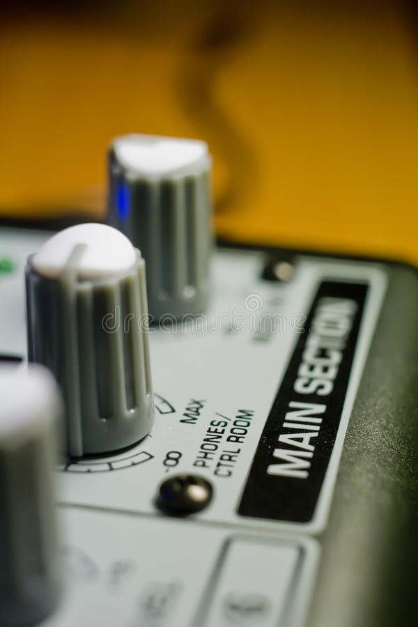 Knobs On Sound Mixer Panel Royalty Free Stock Photo