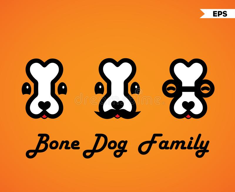 Knochen-Hundefamilie vektor abbildung