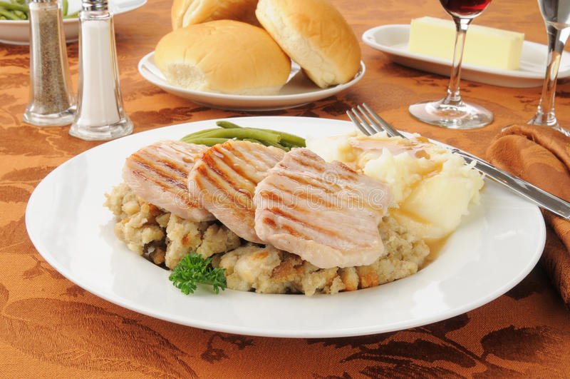 Knochenloses porkchop Abendessen lizenzfreie stockfotografie