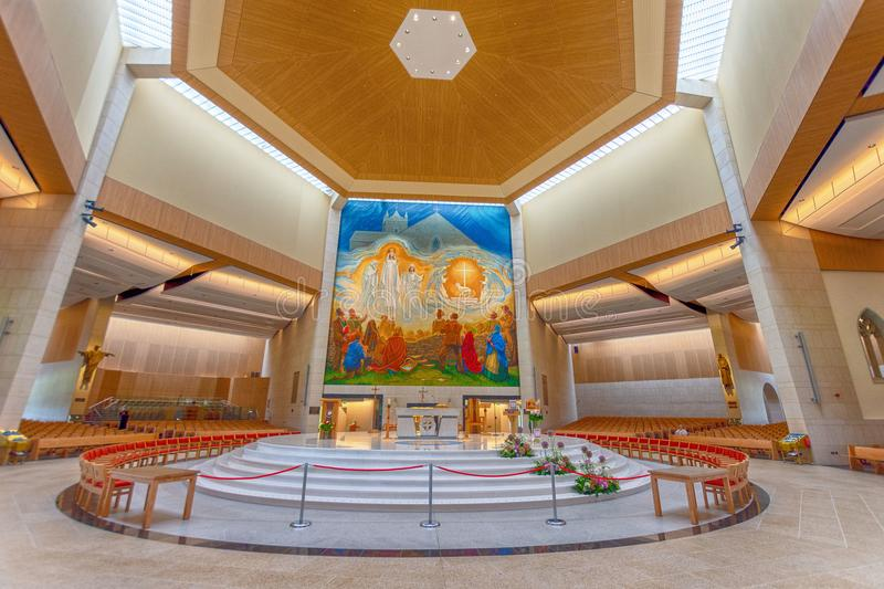 Knock, Mayo, Ireland. Ireland`s National Marian Shrine in Co Mayo, visited by over 1.5 million people each year. Knock Shrine. Knock, Mayo, Ireland - July 17th stock photo