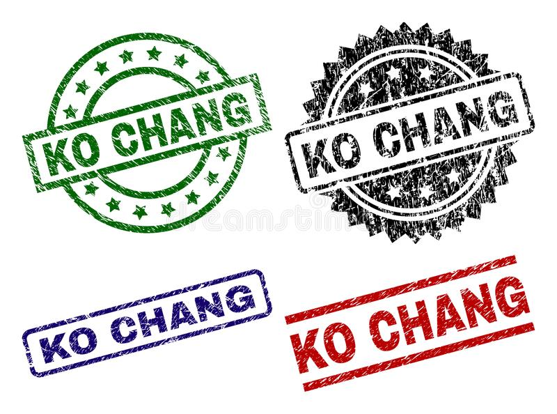 knock-out texturizado dañado CHANG Stamp Seals stock de ilustración