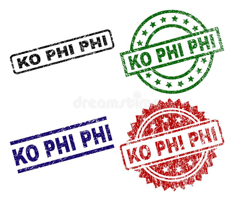 knock-out texturizado rasguñado PHI Seal Stamps ilustración del vector