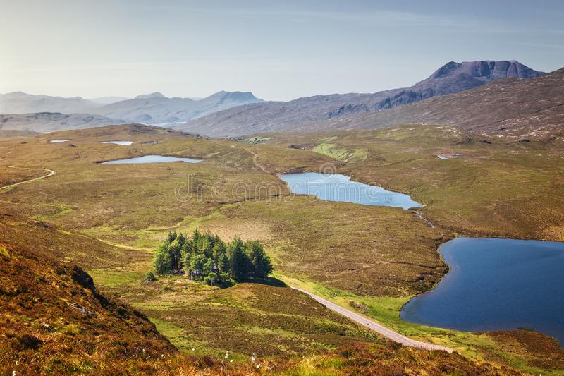 Knockan Crag is a series of cliffs in Assynt, Scotland 21 kilometers north of Ullapool. Geopark shape of the North Western. Highlands of Scotland, United royalty free stock images