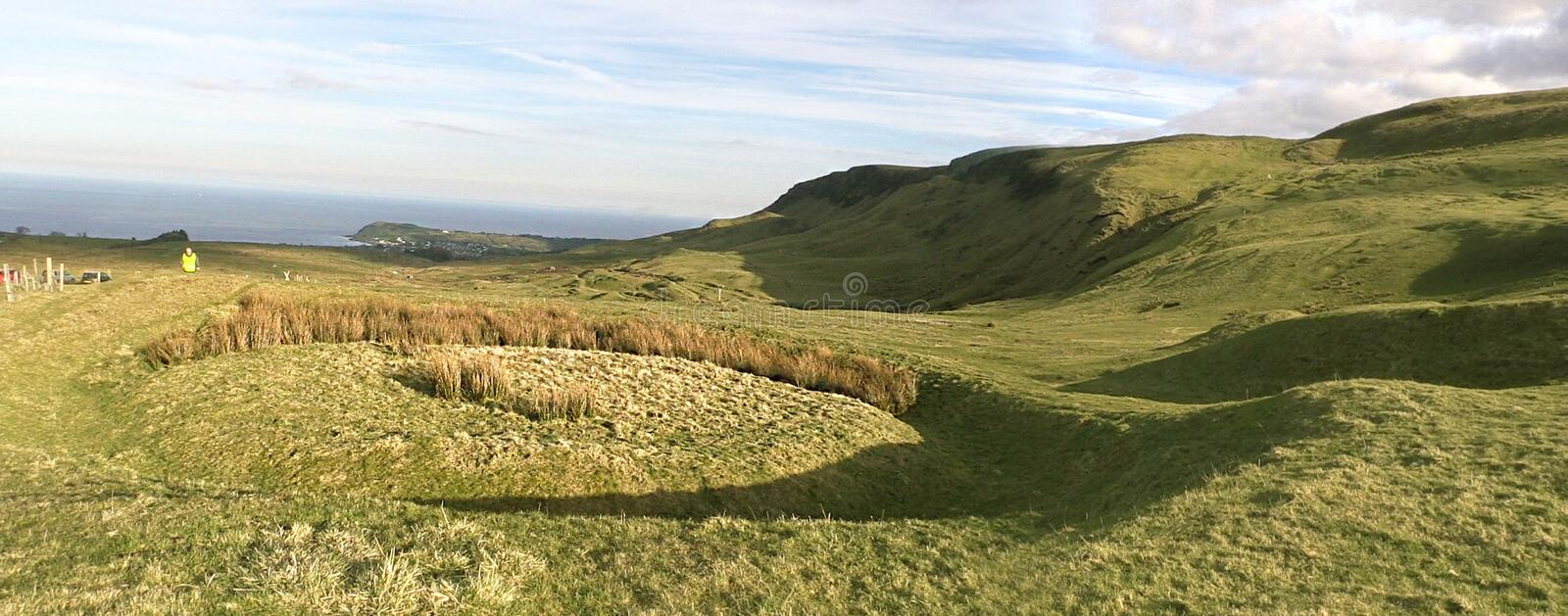 Knockdhu Moats Cairncastle. Larne neolithic old cold rath co.antrim n.i royalty free stock photography