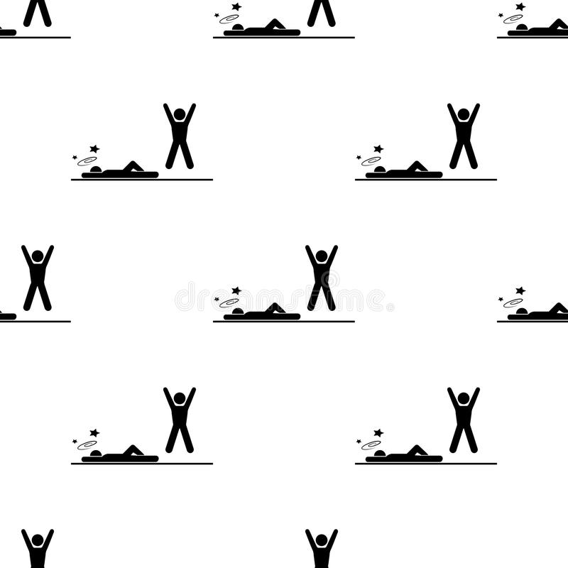 knockdown w akci ikonie Element walk ikony dla mobilnych pojęcia i sieci apps Deseniowej powtórki bezszwowy knockdown w akci ikon ilustracja wektor