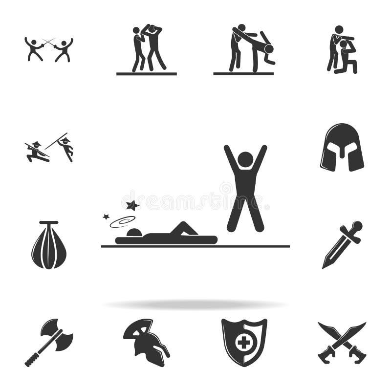 knockdown w akci ikonie Set Cfight i sparingowe element ikony Premii ilości graficzny projekt Znaki i symbol kolekcja ja royalty ilustracja