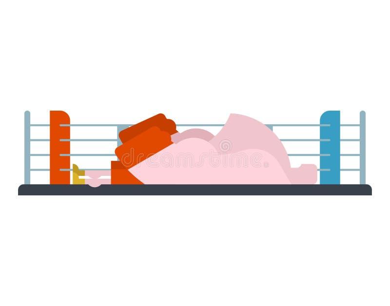 Knockout- boxare i cirkel förloraren är idrottsman nen Kämpe besegrad isola royaltyfri illustrationer