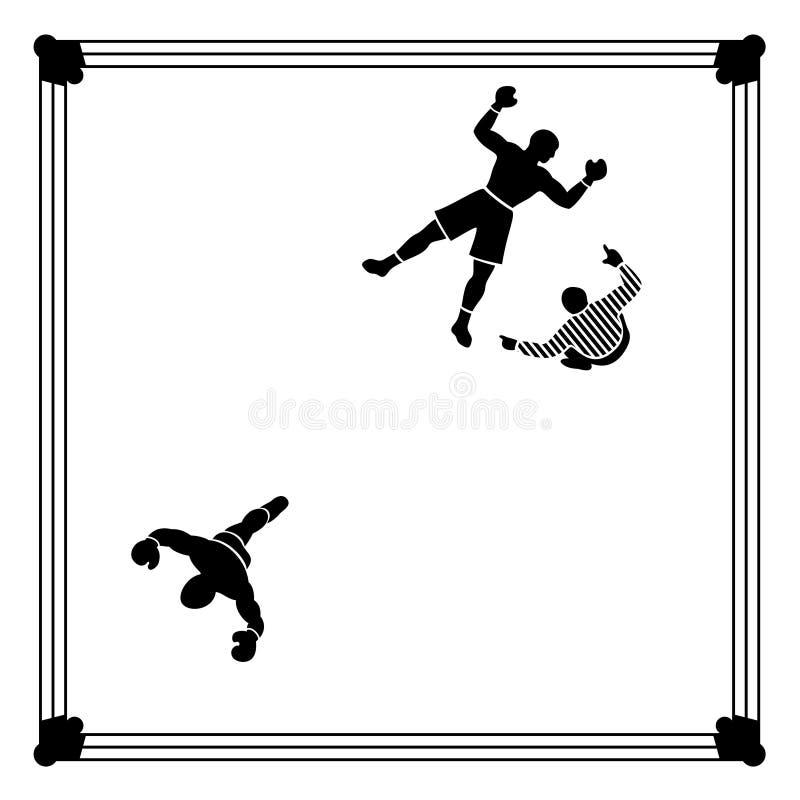 Knockout- boxningplats royaltyfri illustrationer
