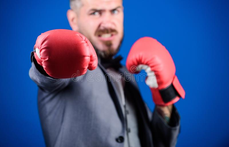 Knockout and energy. Fight. businessman in formal suit and bow tie. Business and sport success. powerful man boxer ready. For corporate battle. bearded man in royalty free stock photos