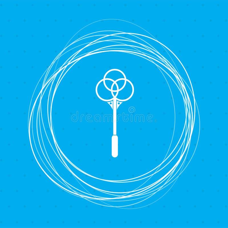 Knockout för mattsymbol på en blå bakgrund med abstrakt begreppcirklar omkring och ställe för din text stock illustrationer