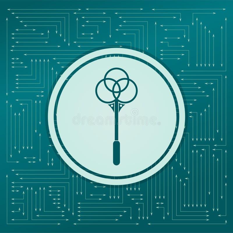 Knockout för mattsymbol på en grön bakgrund, med pilar i olika riktningar Det visas på det elektroniska brädet royaltyfri illustrationer