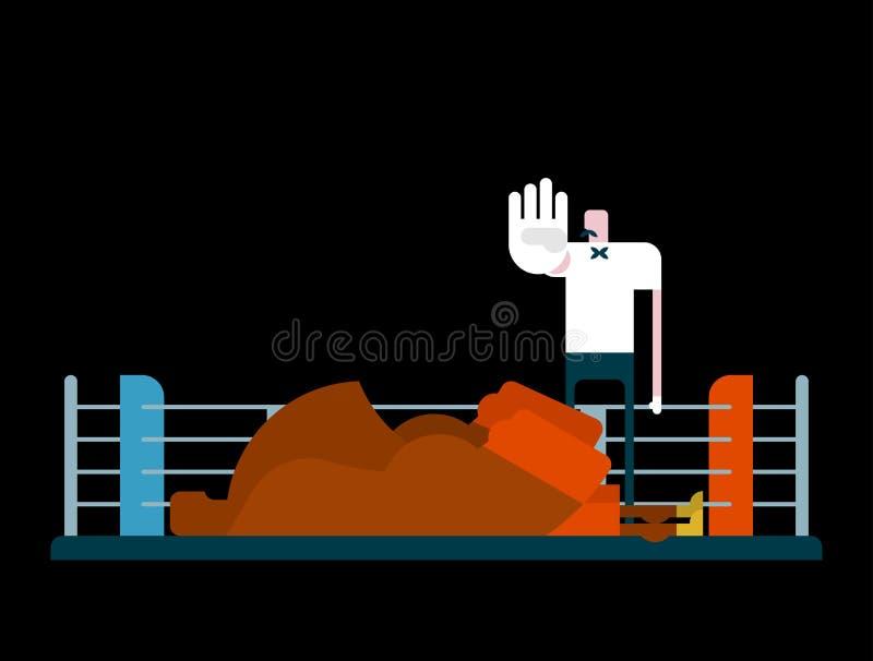 Knockout i cirkel Domare och boxare domaren räknar stock illustrationer