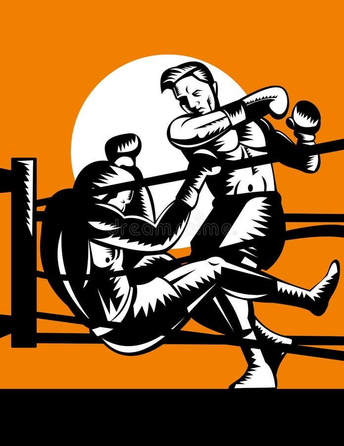 knockout- motståndare för boxare ut stock illustrationer