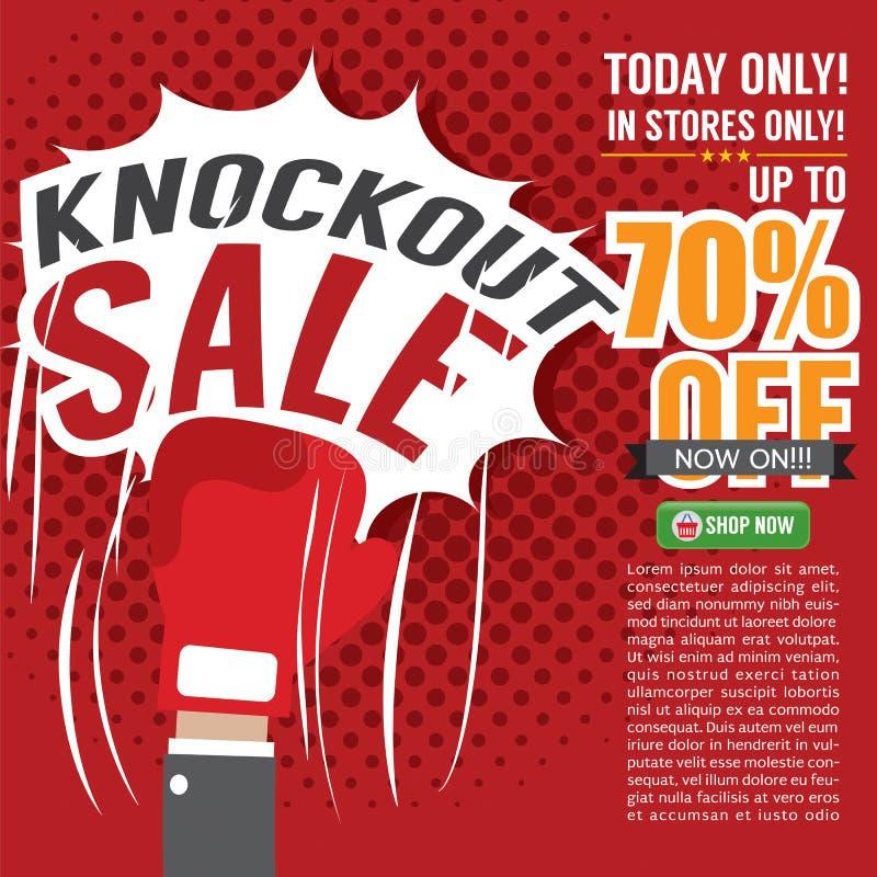Knockout- Sale befordran vektor illustrationer