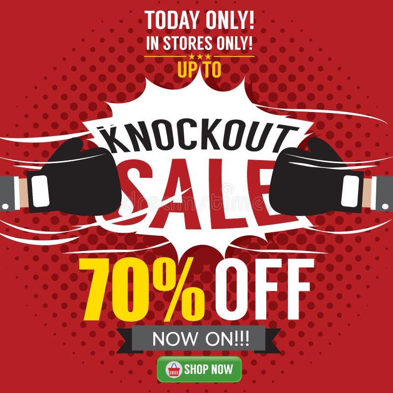 Knockout- Sale befordran stock illustrationer