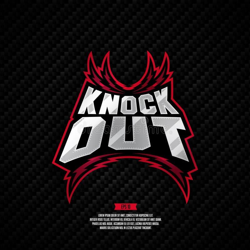 Knockout- stridighetlogodesign vektor illustrationer