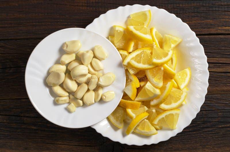 Knoflook en citroen royalty-vrije stock afbeelding
